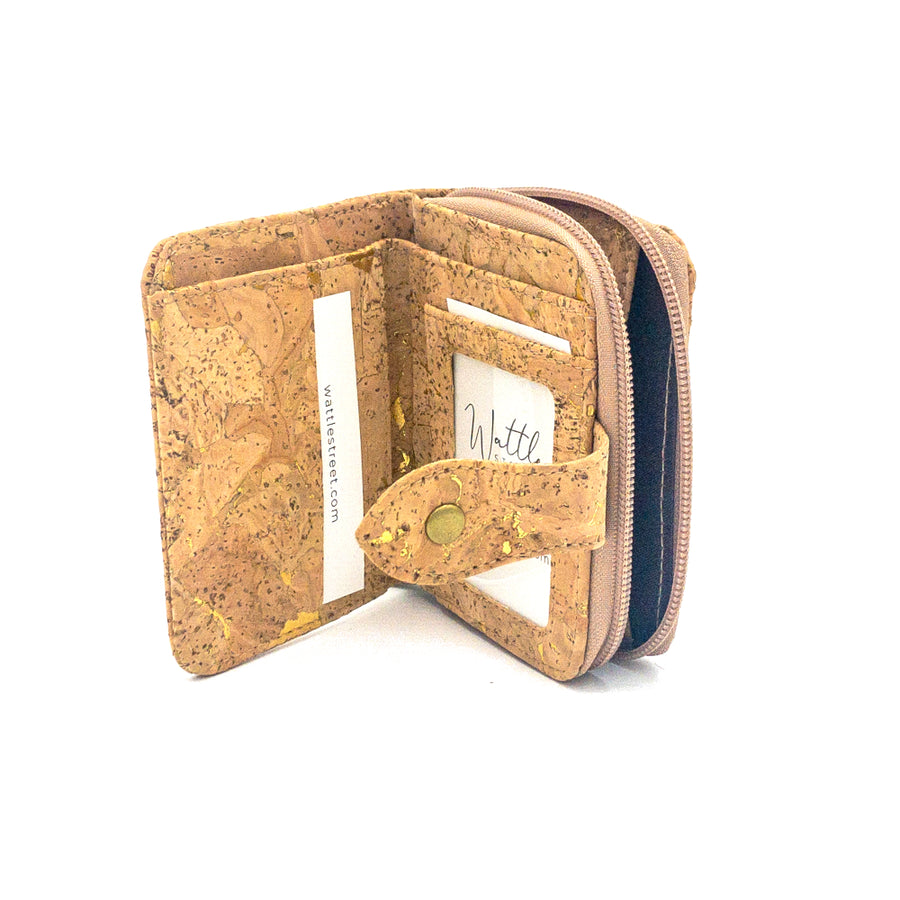 Harper Compact Cork Purse Natural with Golden inside