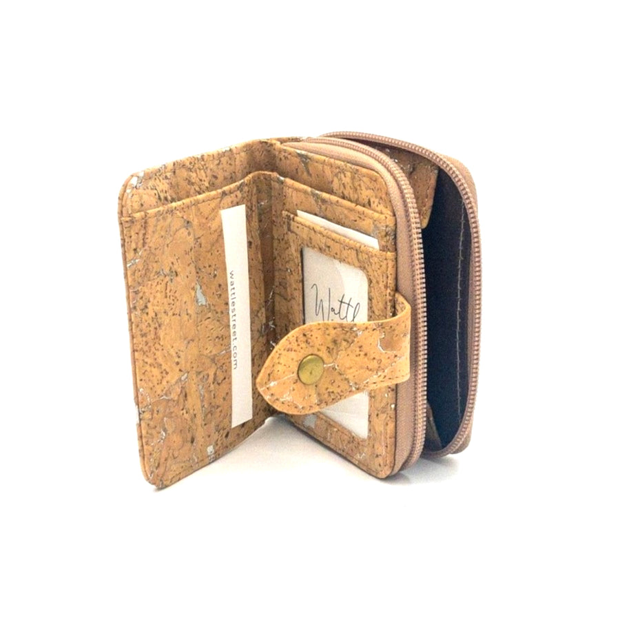 Harper Compact Cork Purse Natural with Silver inside