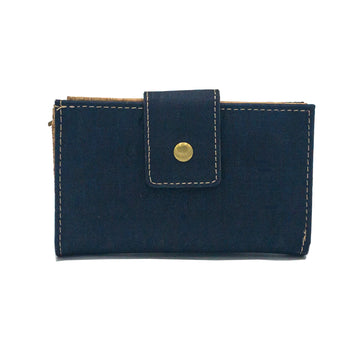 Ines Multi-Card Cork Purse Navy Blue front