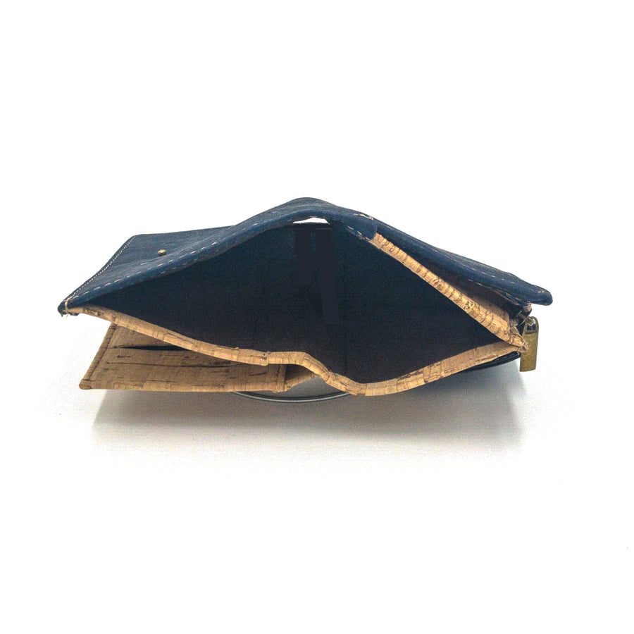 Ines Multi-Card Cork Purse Navy Blue notes pocket