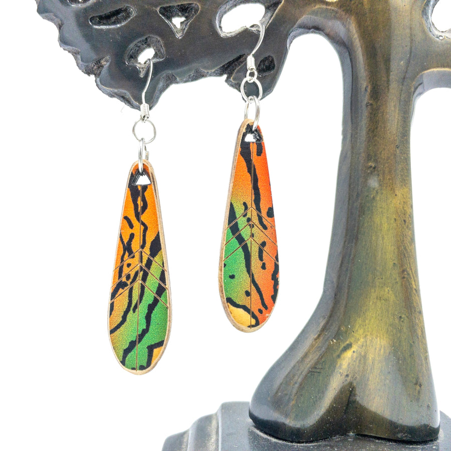 Kee Wood Earrings Feather Tiger front