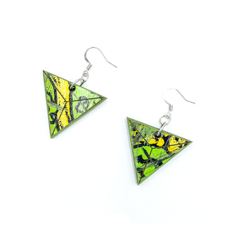 Kee Wood Earrings Triangle Lime top