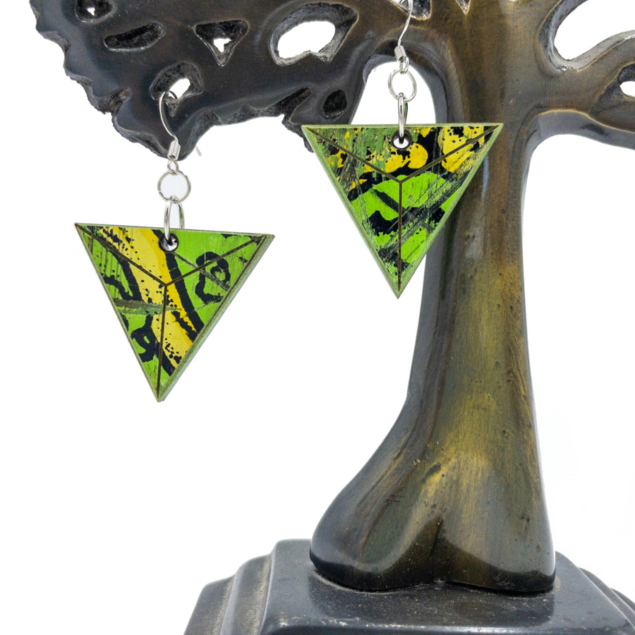 Kee Wood Earrings Triangle Lime hanging