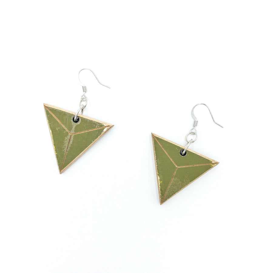 Kee Wood Earrings Triangle Olive top