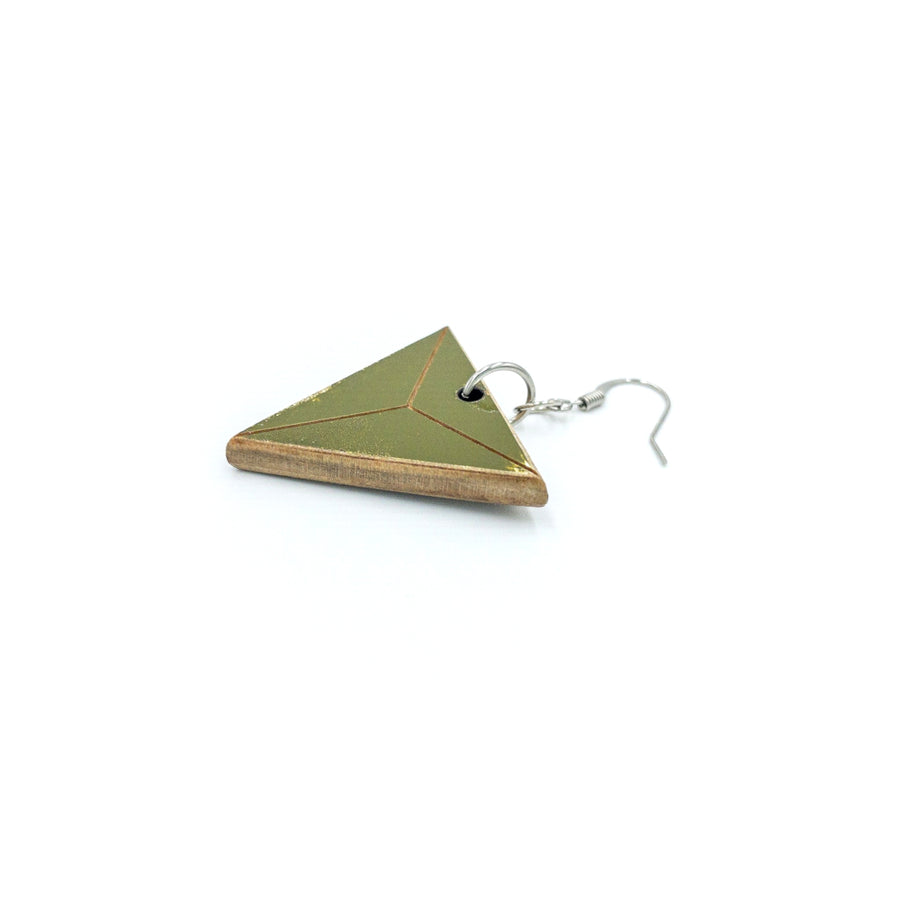 Kee Wood Earrings Triangle Olive side