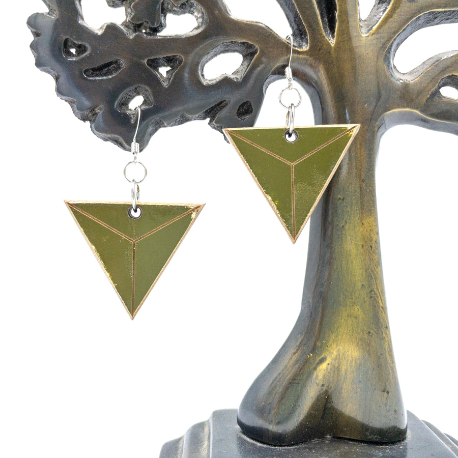Kee Wood Earrings Triangle Olive hanging