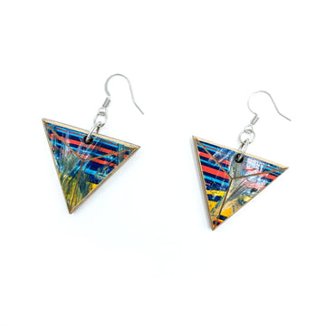 Kee Wood Earrings Triangle RB Stripes top