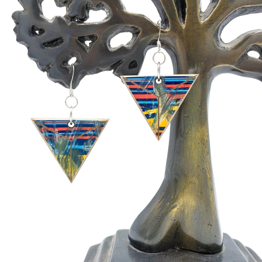 Kee Wood Earrings Triangle RB Stripes hanging