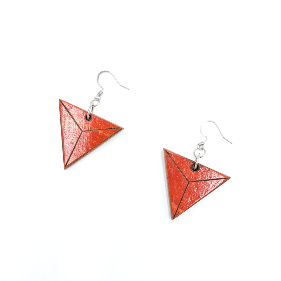 Kee Wood Earrings Triangle Red top