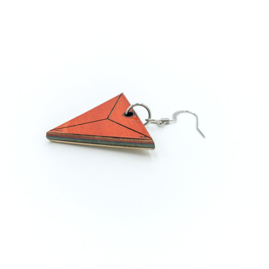 Kee Wood Earrings Triangle Red side