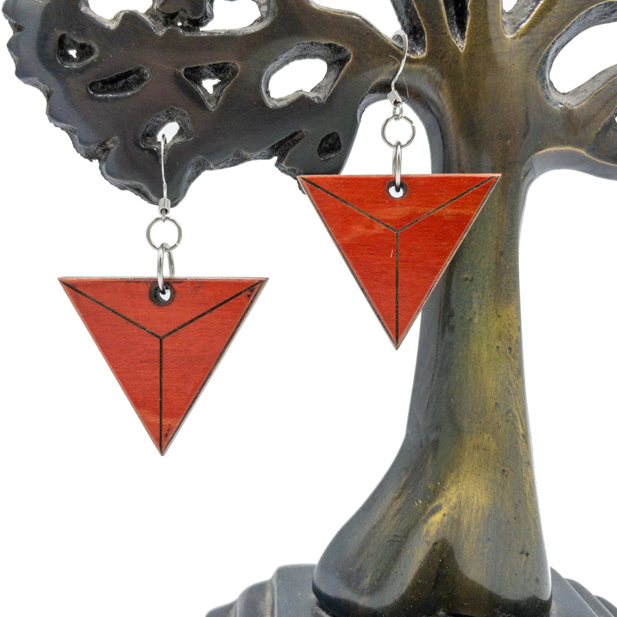 Kee Wood Earrings Triangle Red hanging