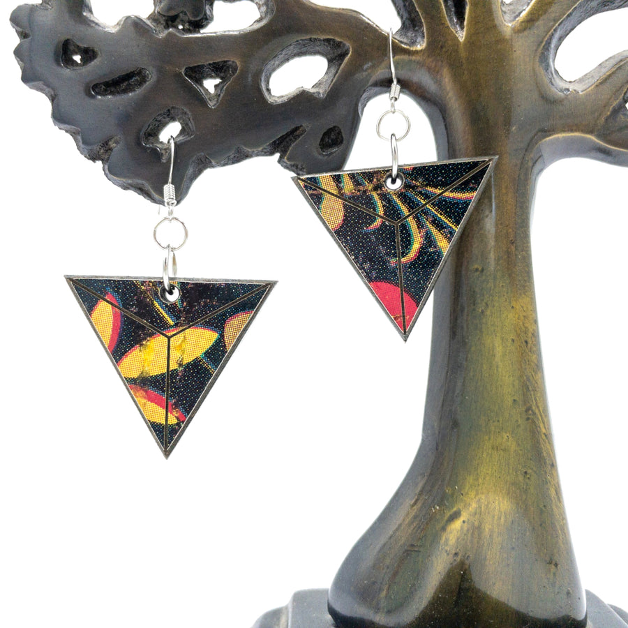 Kee Wood Earrings Triangle Pop Art hanging
