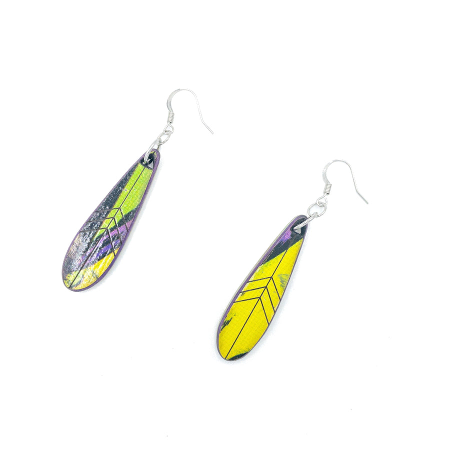Kee Wood Earrings Feather Yellow top
