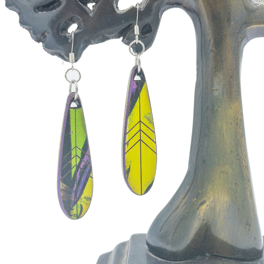 Kee Wood Earrings Feather Yellow front