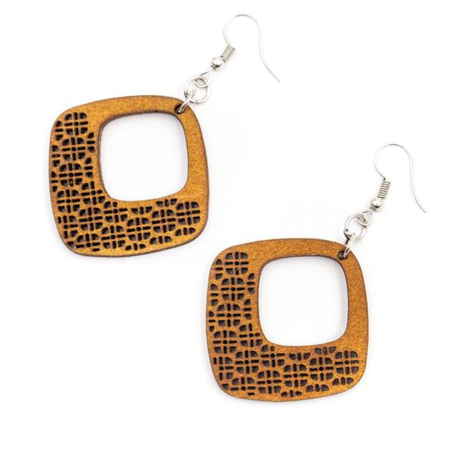 Luda Wood Earrings Diamond White backl