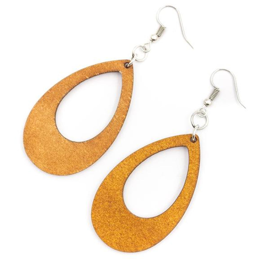 Luda Wood Earrings Teardrop White backl