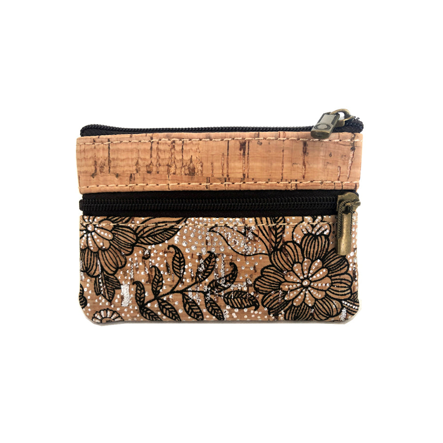 Romy Cork Coin Purse Botanical Black front