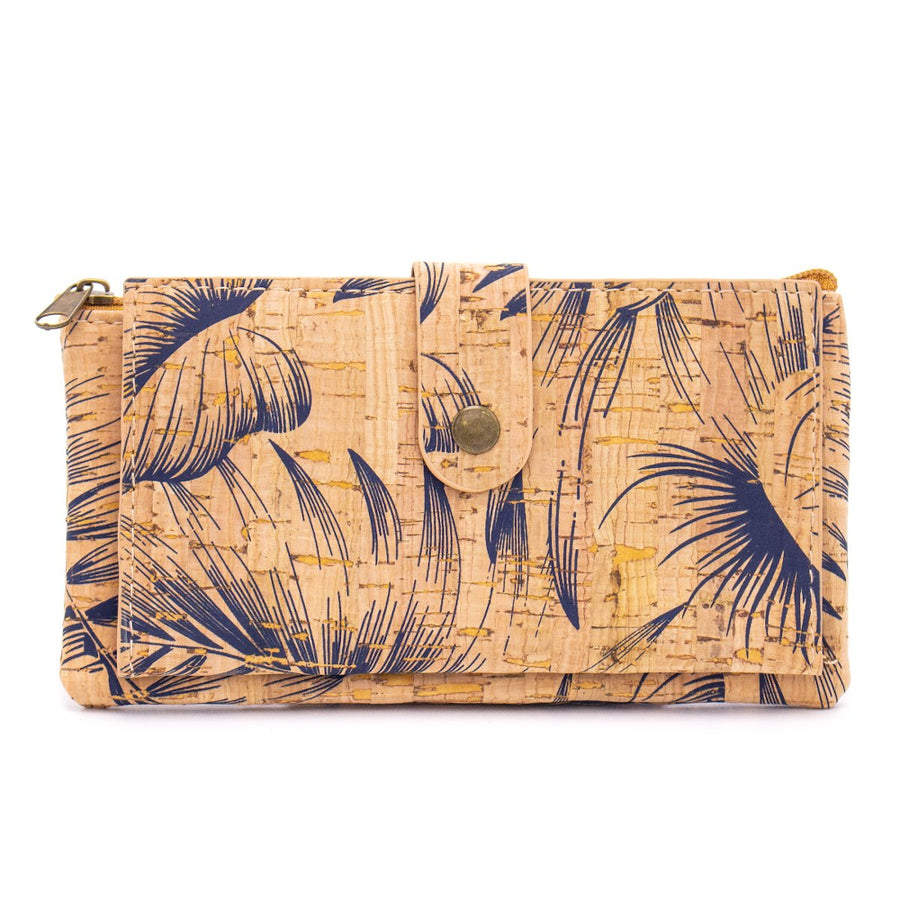 Skyla Cork Essentials Purse Blue Leaves front