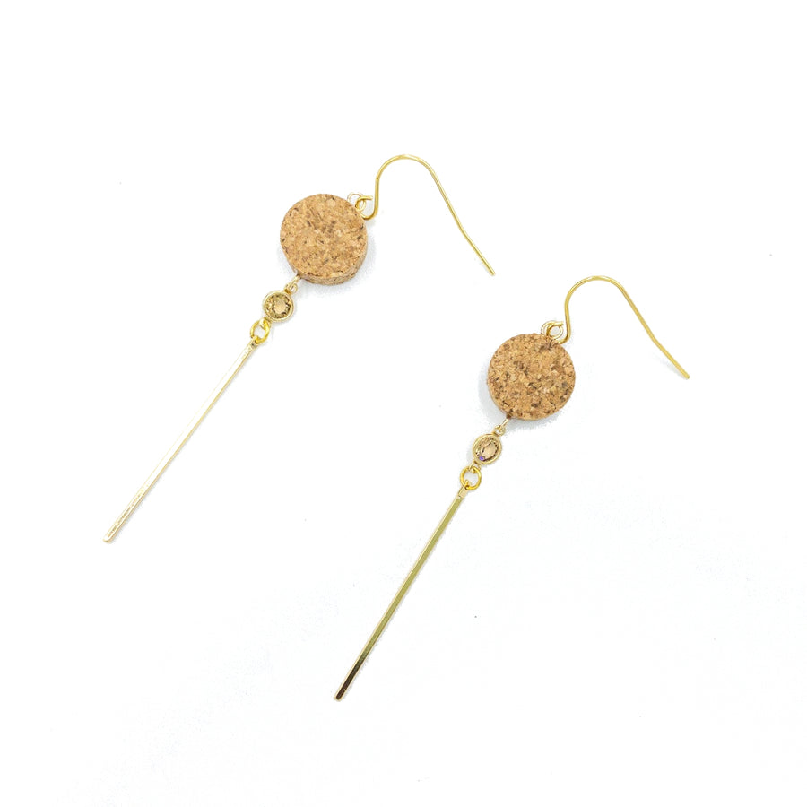 Yuki Cork Earrings Crystal Drop top