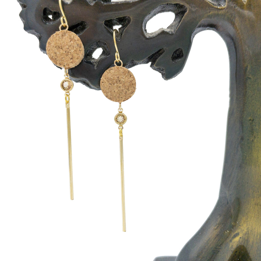Yuki Cork Earrings Crystal Drop hanging