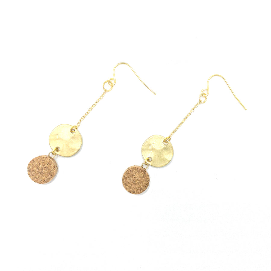 Yuki Cork Earrings Round Leopard