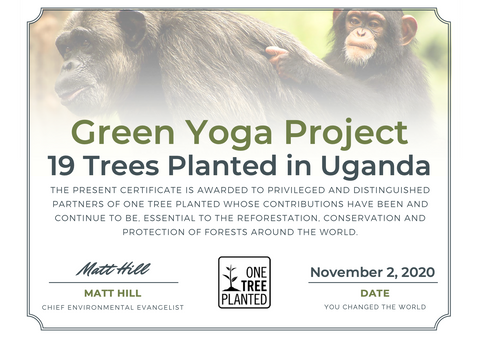 Certificate Green Yoga Project One Tree Planted