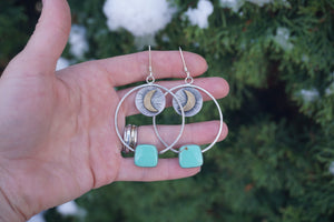 Witchy Woman Hoops- Green Turquoise