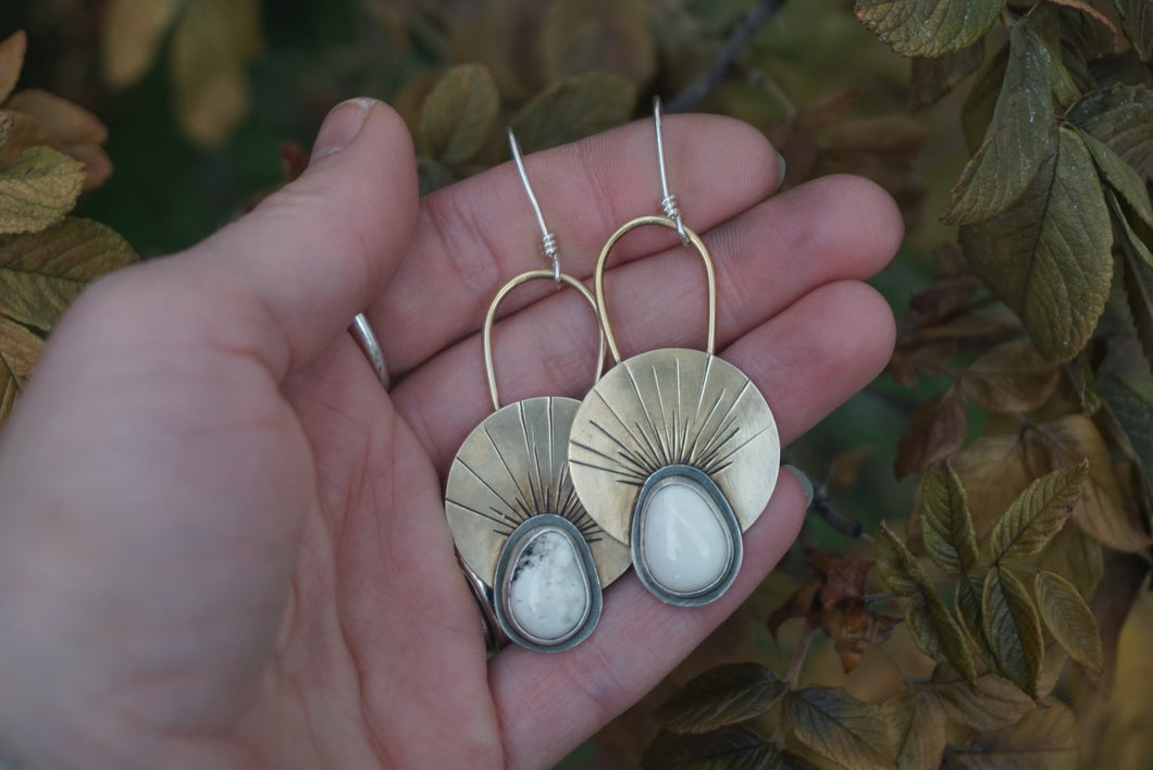 First Light Brass Earrings- White Buffalo