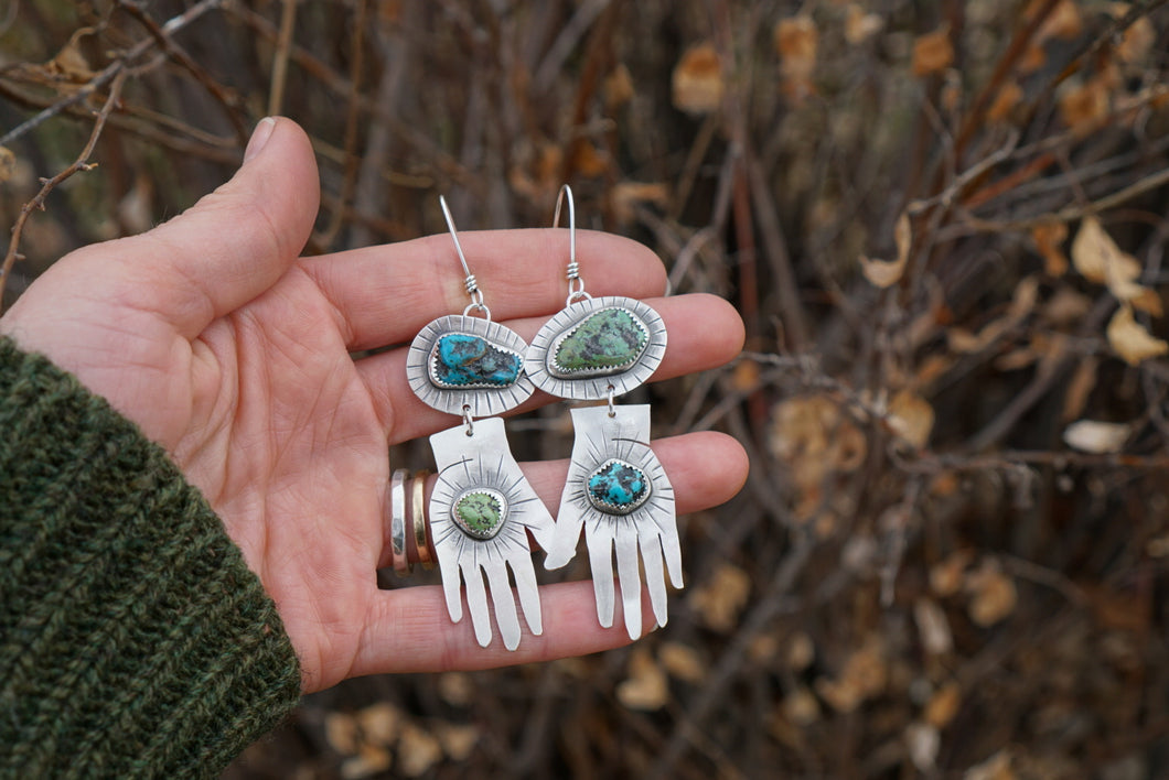 Frida Earrings- Silver and Turquoise