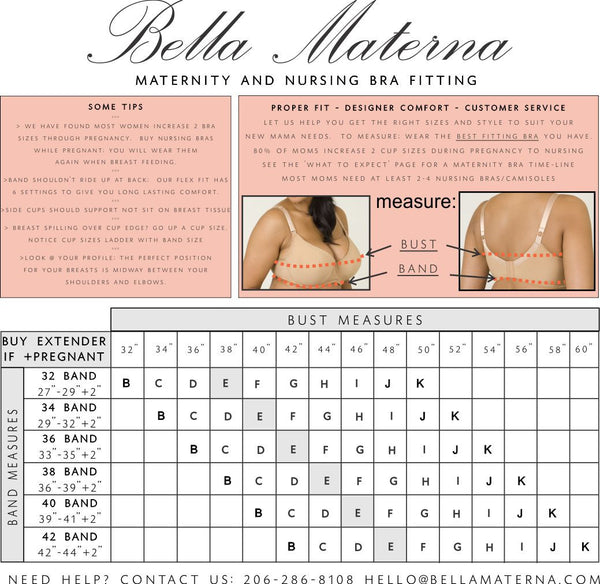 Maternity Nursing Bra Size Chart Bust size B-K cups and Band Size 32-42 specialty sized lingerie