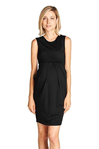 Black Knee Length Midi Maternity Dress with Front Pleat
