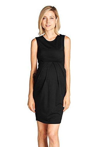 Image of Black Knee Length Midi Maternity Dress with Front Pleat