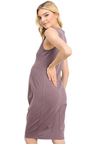 Image of Side of Dark Rose Knee Length Midi Maternity Dress with Front Pleat