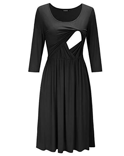 Black Empire Waist Ruffled Nursing Dress