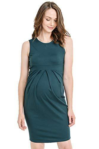 Green Knee Length Midi Maternity Dress with Front Pleat