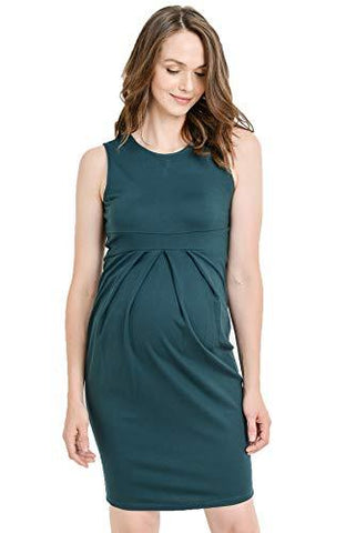 Image of Green Knee Length Midi Maternity Dress with Front Pleat