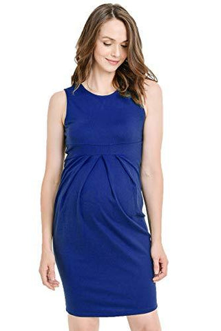 Image of Royal Blue Knee Length Midi Maternity Dress with Front Pleat