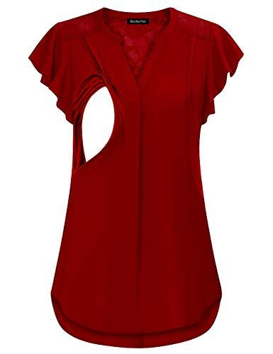 Red Women's V Neck Short Sleeve Maternity Nursing Top