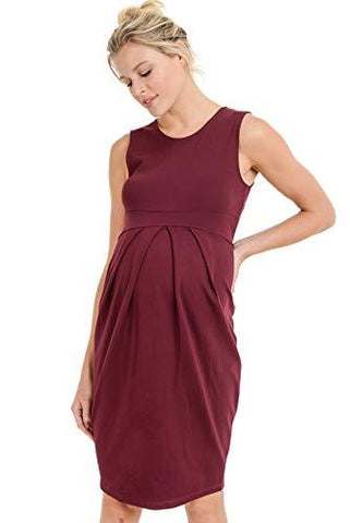 Image of Burgundy Knee Length Midi Maternity Dress with Front Pleat