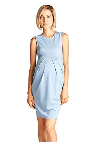 Light Blue Knee Length Midi Maternity Dress with Front Pleat