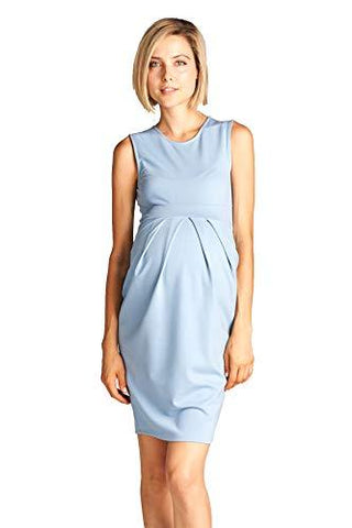 Image of Light Blue Knee Length Midi Maternity Dress with Front Pleat