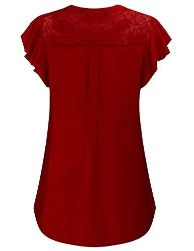 Back of Red Women's V Neck Short Sleeve Maternity Nursing Top