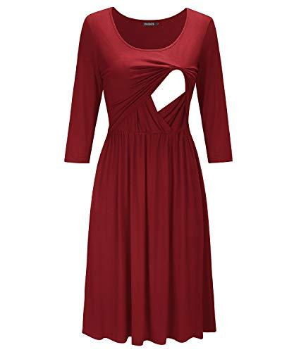 Red Empire Waist Ruffled Nursing Dress