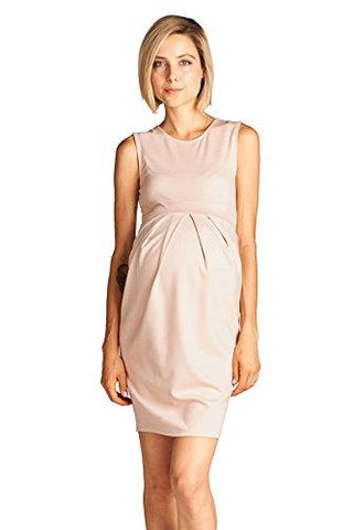 Image of Pink Blush Knee Length Midi Maternity Dress with Front Pleat