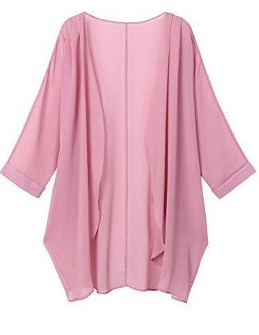Pink Sheer Loose Chiffon Swimsuit Coverup