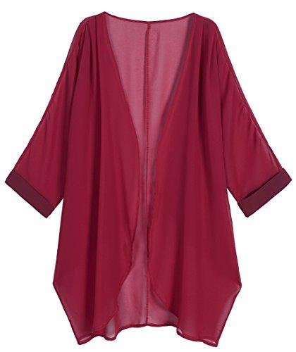 Wine Red Sheer Loose Chiffon Swimsuit Coverup