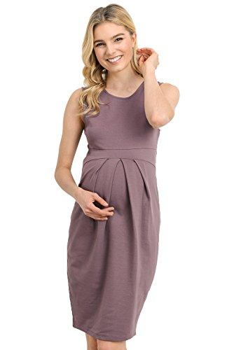 Dark Rose Knee Length Midi Maternity Dress with Front Pleat