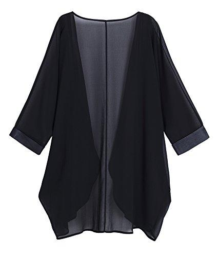 Black Sheer Loose Chiffon Swimsuit Coverup