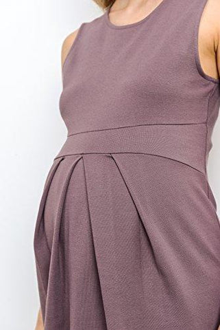 Image of Dark Rose Knee Length Midi Maternity Dress with Front Pleat