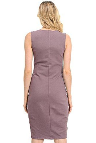 Image of Back of Dark Rose Knee Length Midi Maternity Dress with Front Pleat